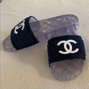 CHANEL Shoes - Chanel Navy 19p Cc Logo Fabric/Pvc Pool Mules